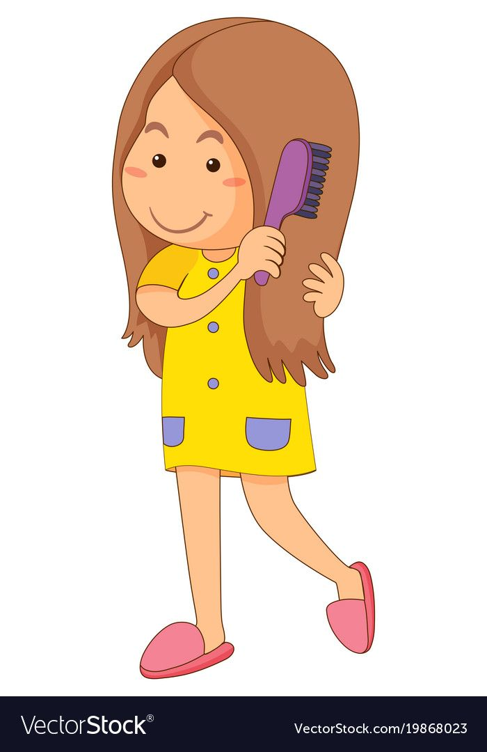 Little girl combing hair Royalty Free Vector Image.