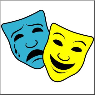 Clip Art: Comedy and Tragedy Masks 1 Color I abcteach.com.
