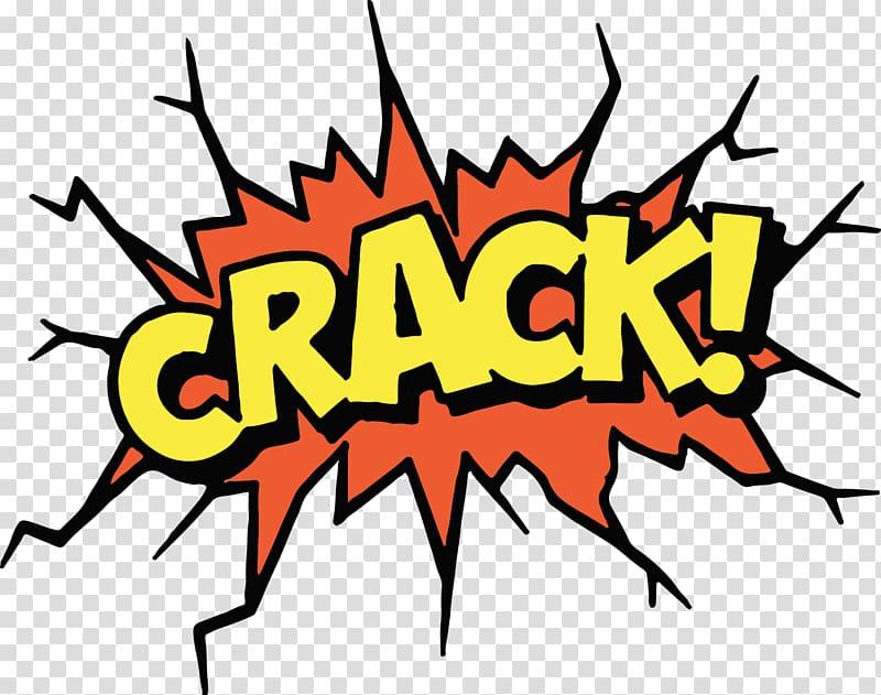 Crack! text, Comic book Sound Effect Cartoon Comics.