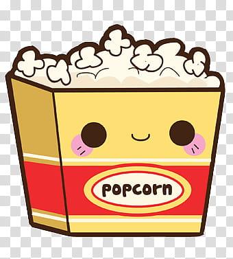 Comida Kawaii en zip, popcorn illustration transparent.