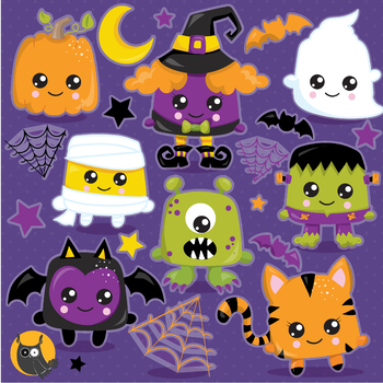 Halloween kawaii characters clipart commercial use, graphics, digital.