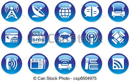 Clipart Vector of Multimedia/Communication Icon Set on white.