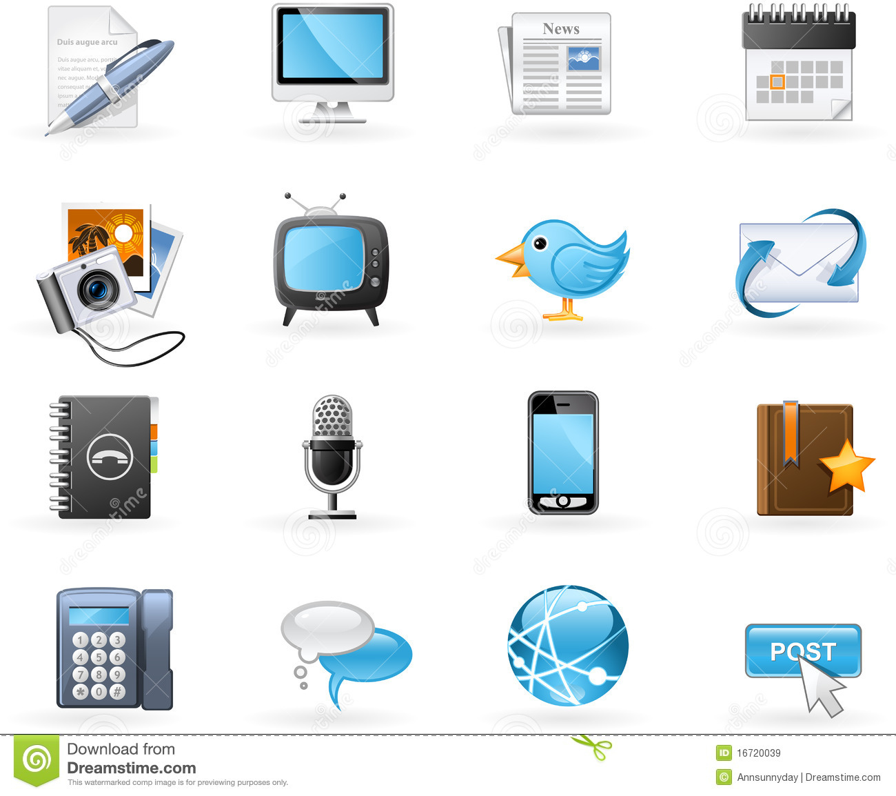 Communication Channels Icon Set Royalty Free Stock Images.