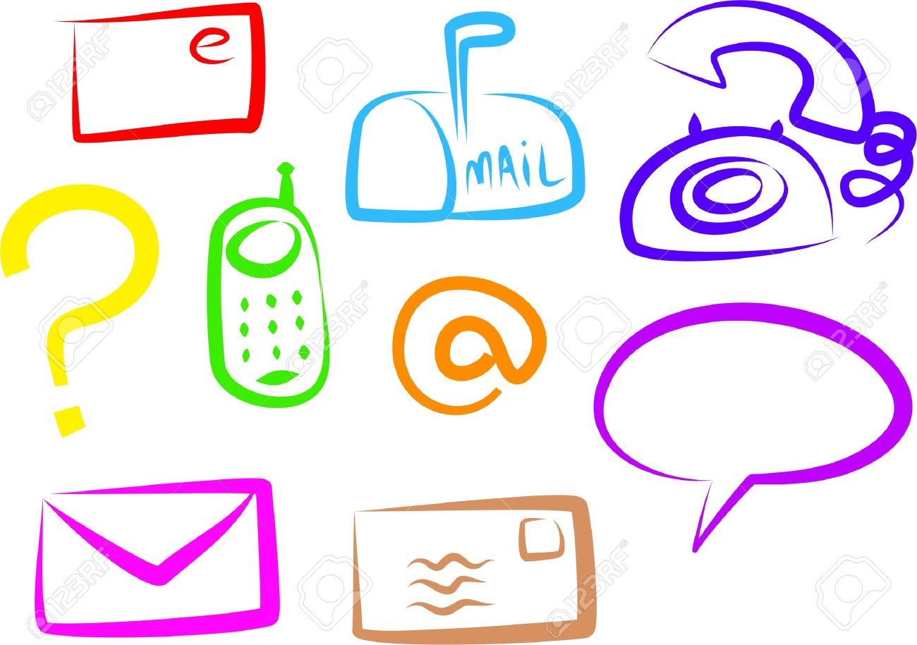 A Set Of Colourful Simple Line Communication Icons Isolated On.