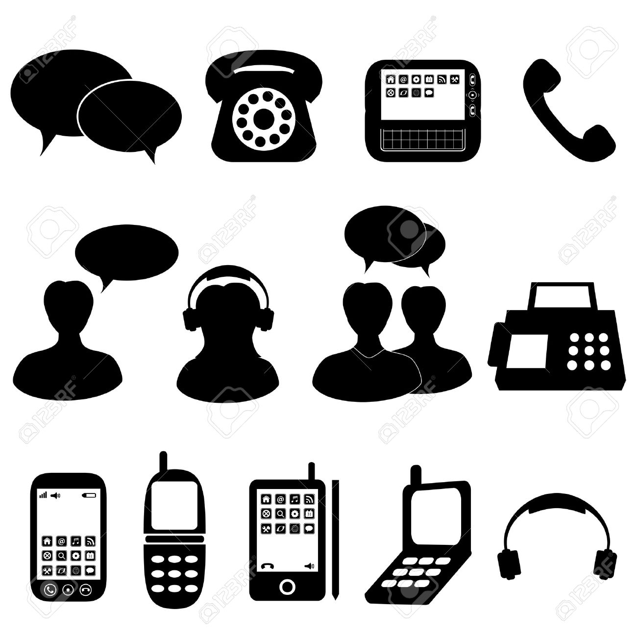 Telephone And Communication Icons And Symbols Royalty Free.