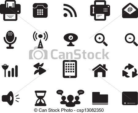 Clipart Vector of Media and Communication Icon Black and White.