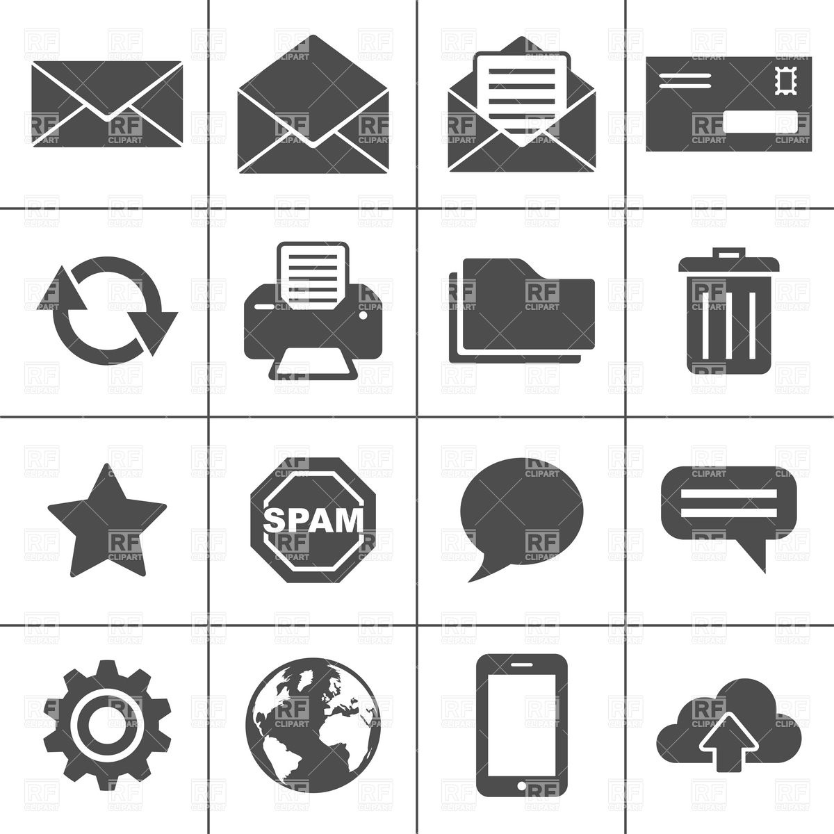 Email and Communication Icons Vector Image #5941.