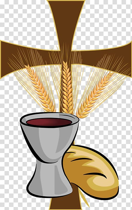Brown cross with wine and bread illustration, Eucharist.