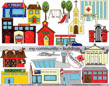 My Community Buildings Clipart by Poppydreamz.