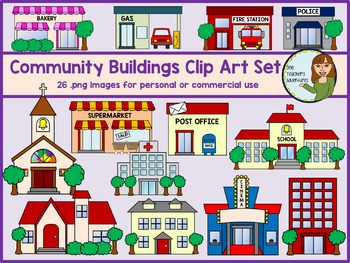 Community Buildings Clip Art Set.
