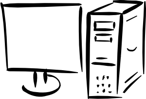 Computer Clipart Black And White.