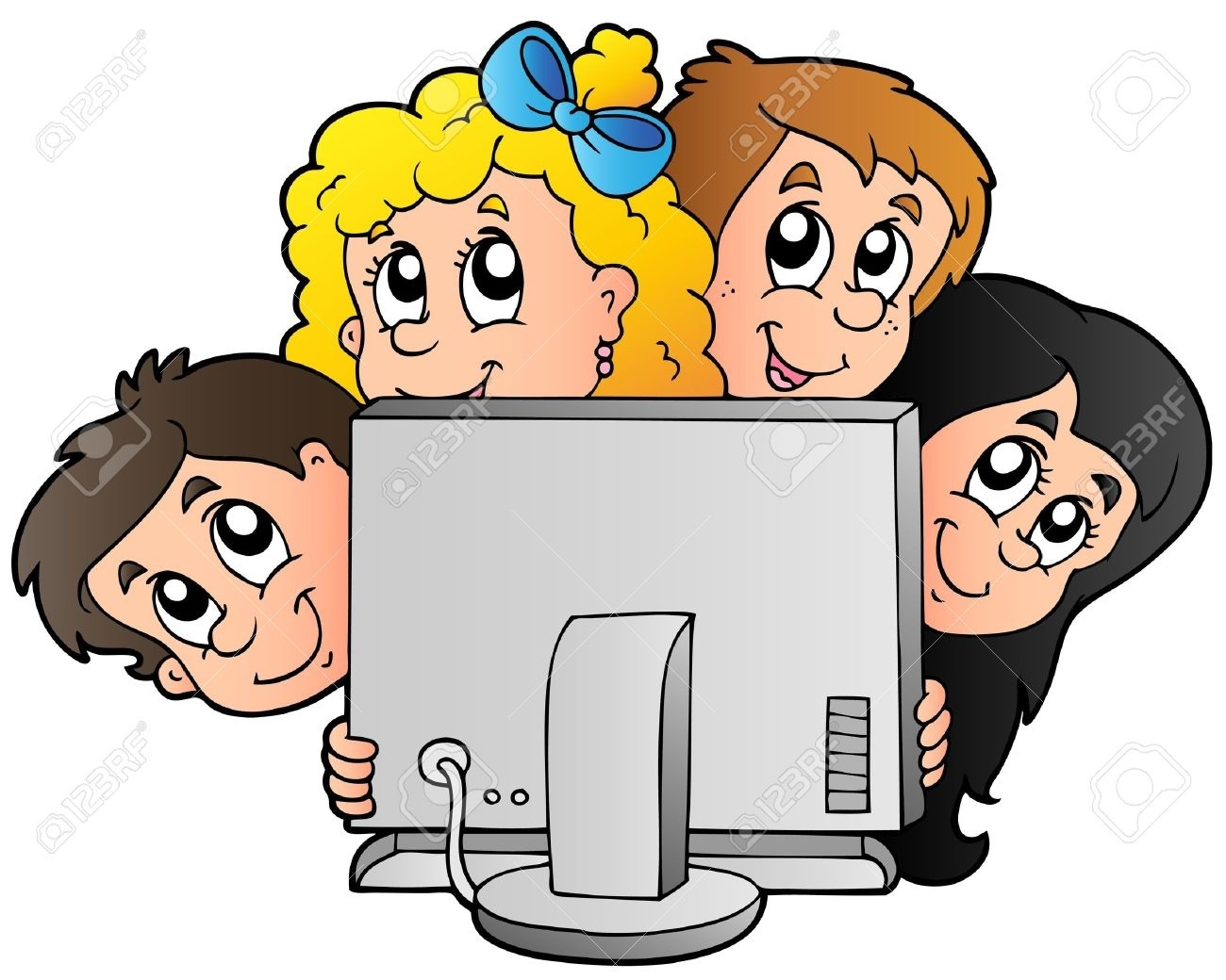 Cartoon Kids With Computer.