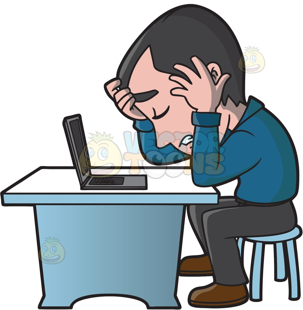 A Frustrated Man Working On His Computer Cartoon Clipart.