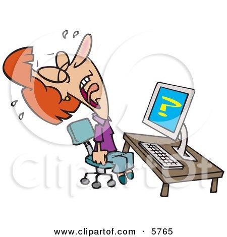Computer Frustration Clipart.
