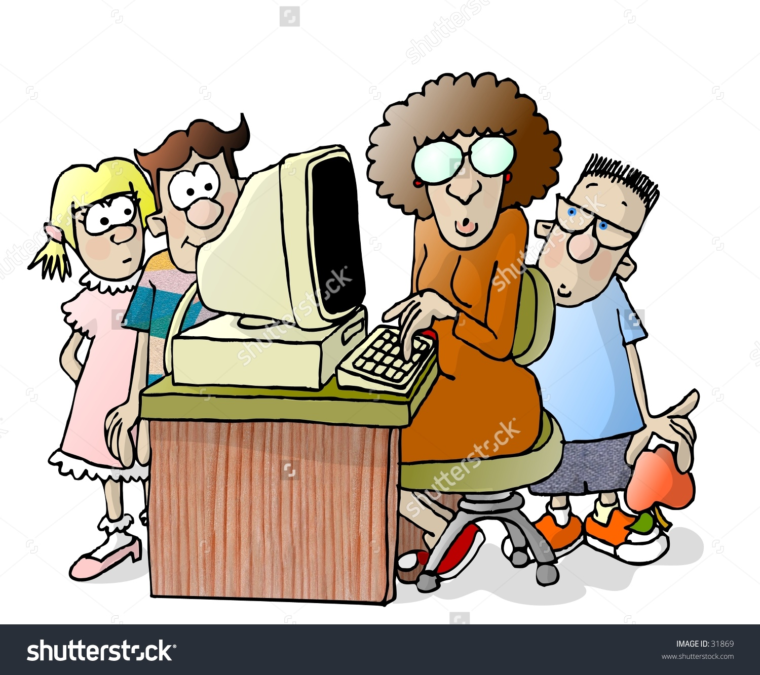 Clipart Illustration Teacher 3 Students Around Stock Illustration.