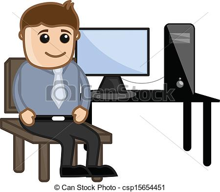 Clipart Vector of Computer Teacher with Computer.