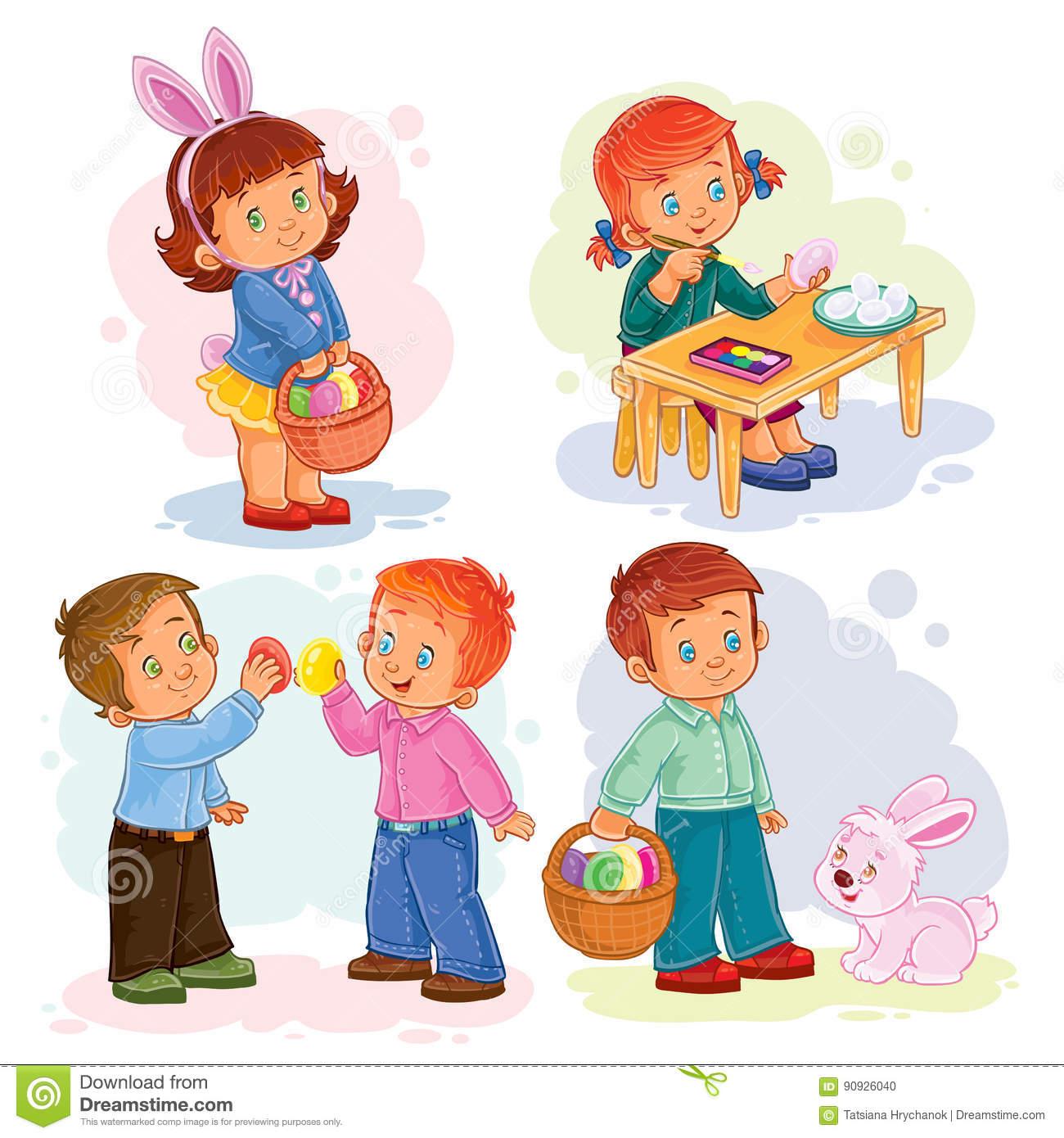 Metta Le Illustrazioni Di Clipart Con I Bambini Piccoli Sul Tema.