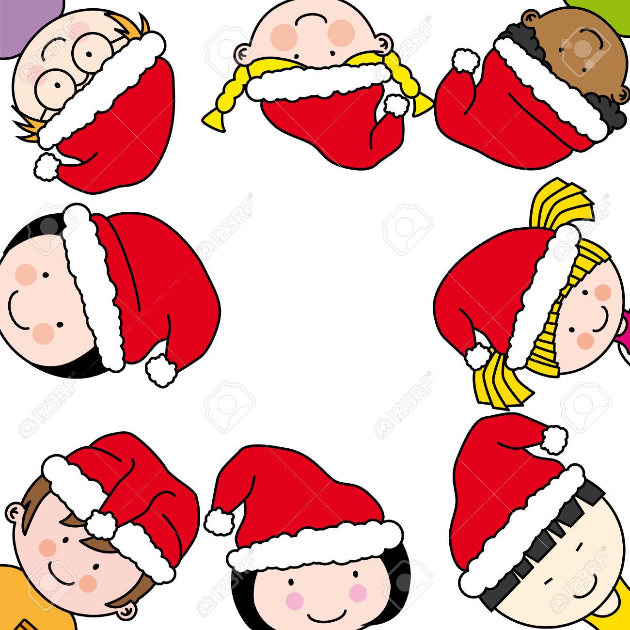 Bambini Di Auguri Con Babbo Natale Clipart Royalty.