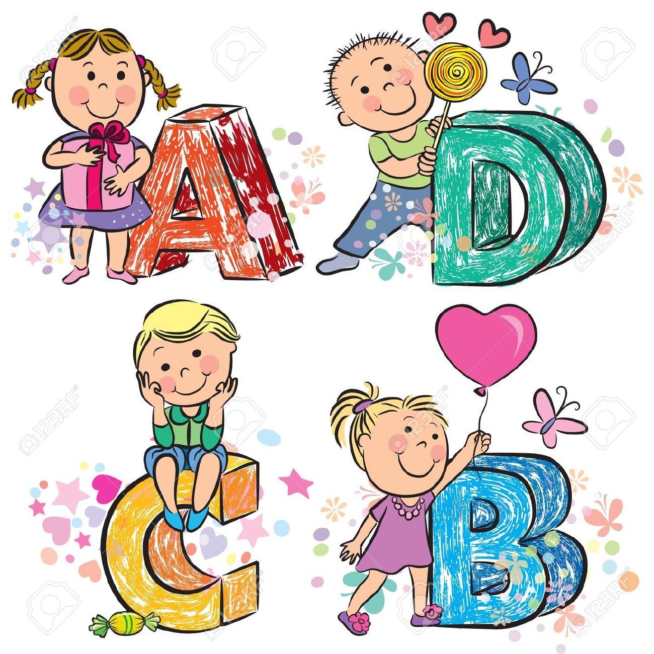 Alfabeto Divertente Con I Bambini ABCD Clipart Royalty.