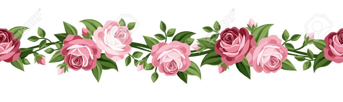 Orizzontale Sfondo Trasparente Con Rose Vector Illustration.