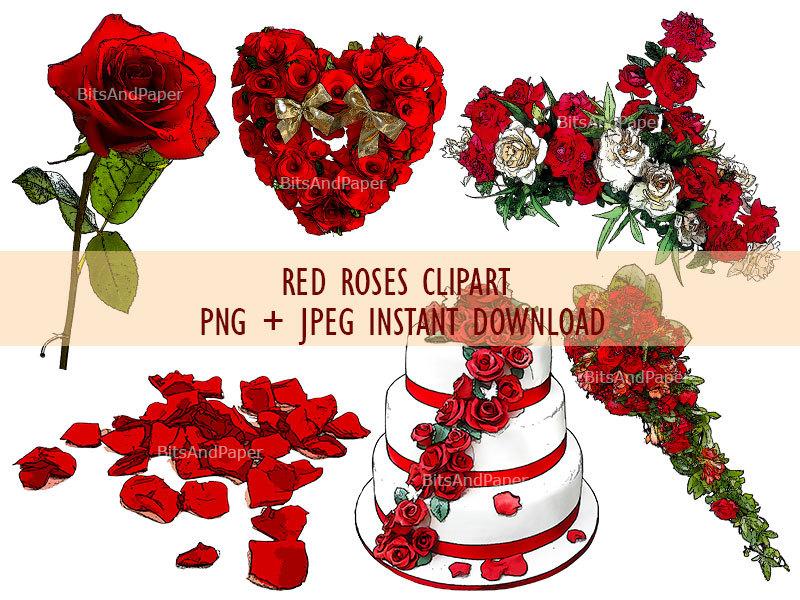 6 clipart rose rosse download immediato bouquet di fiori.