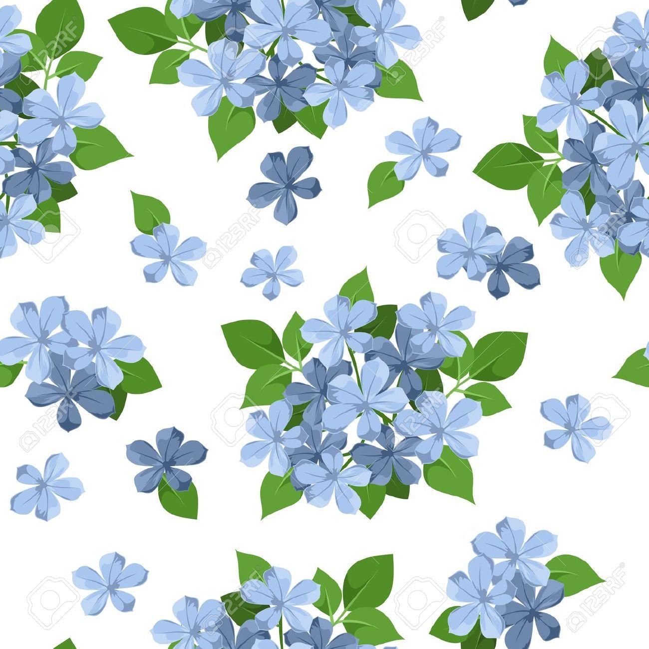 Sfondo Trasparente Con Fiori Blu, Vettore, Illustrazione Clipart.