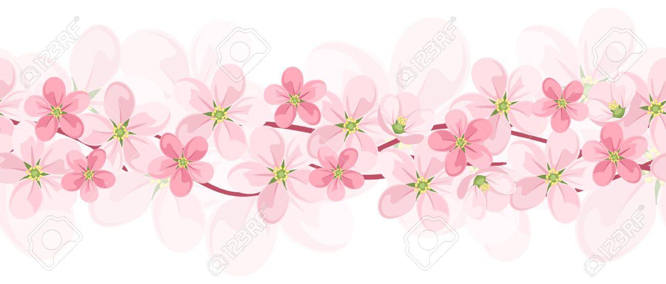 Orizzontale Sfondo Trasparente Con Fiori Rosa. Vettore EPS.