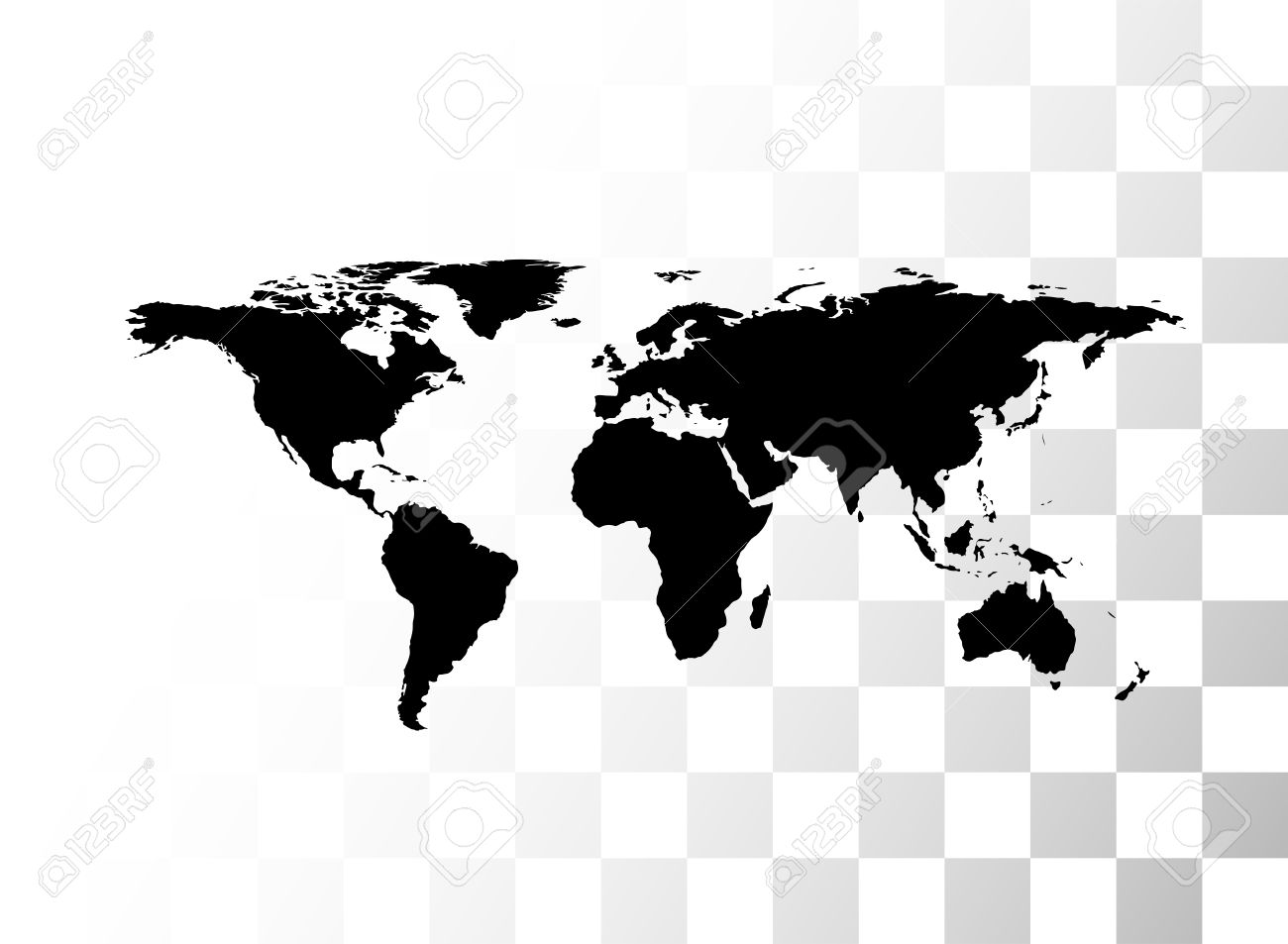 Vector Mondo Nero Mappa, Con Sfondo Trasparente Clipart Royalty.