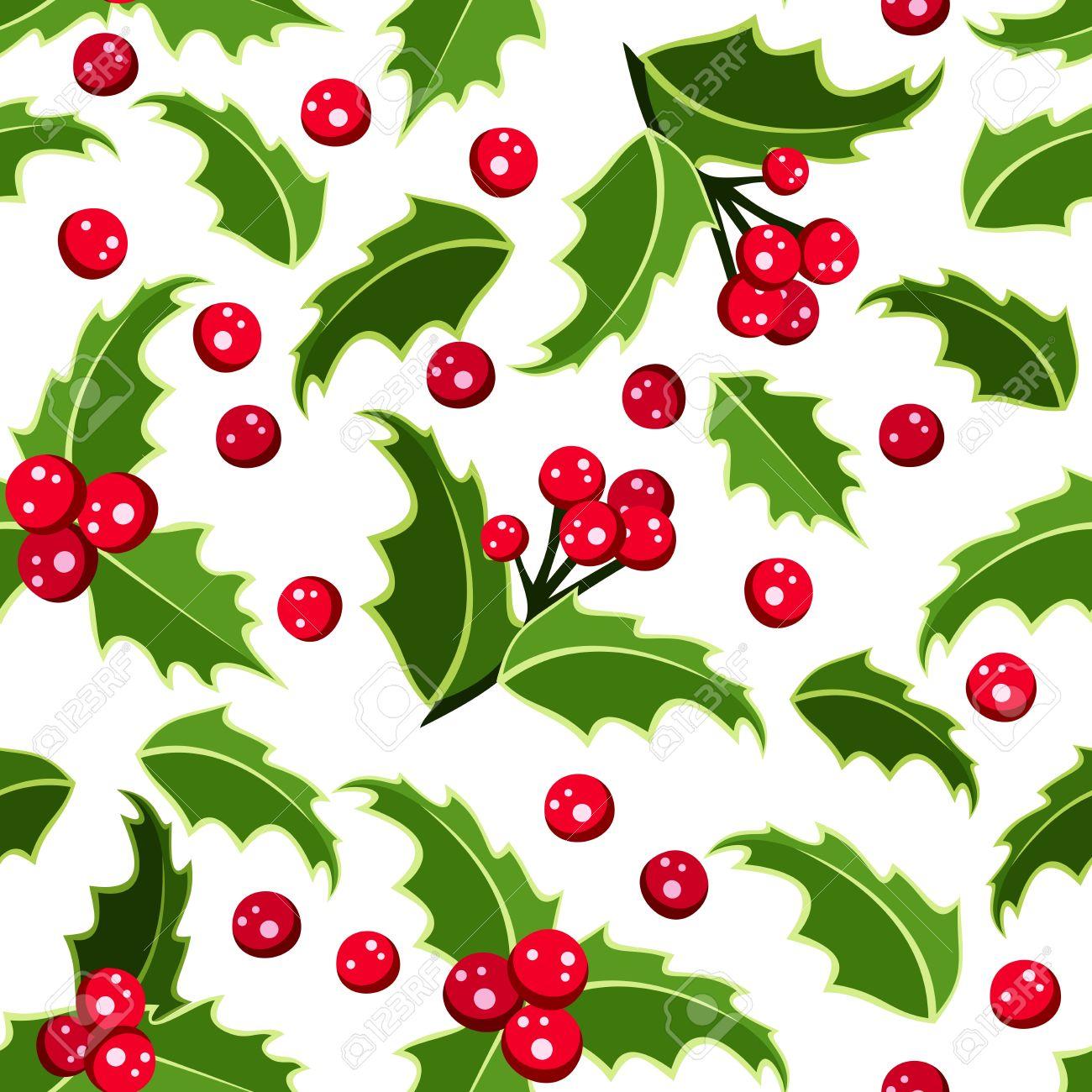 Sfondo Trasparente Con Agrifoglio Di Natale. Clipart Royalty.
