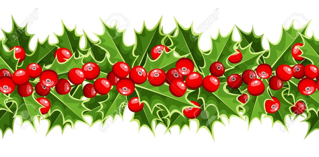 Orizzontale Sfondo Trasparente Con Agrifoglio Di Natale Clipart.