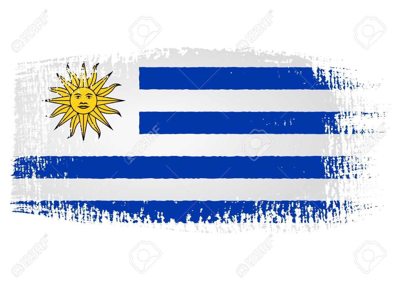 Pennellata Bandiera Uruguay Con Sfondo Trasparente Clipart Royalty.