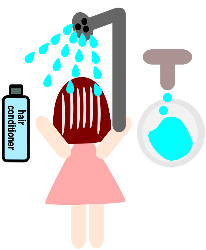 Free Clipart: A girl use a hair conditioner.