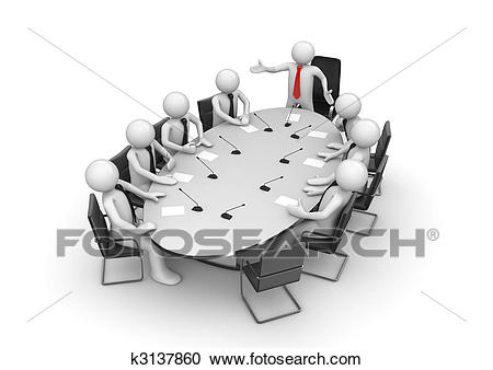 Corporate meeting in conference room Clipart.