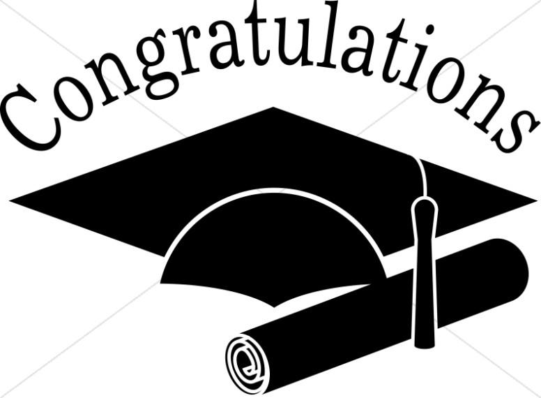 Congratulations Grads Black and White Clip art.