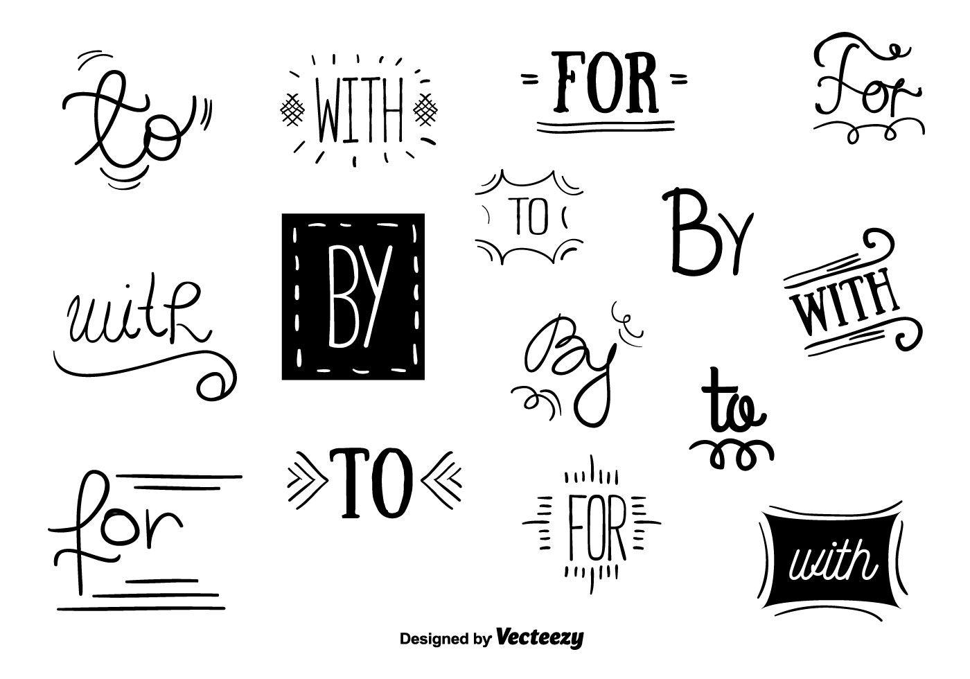 Vector conjunto de letras de la mano consignas para su.