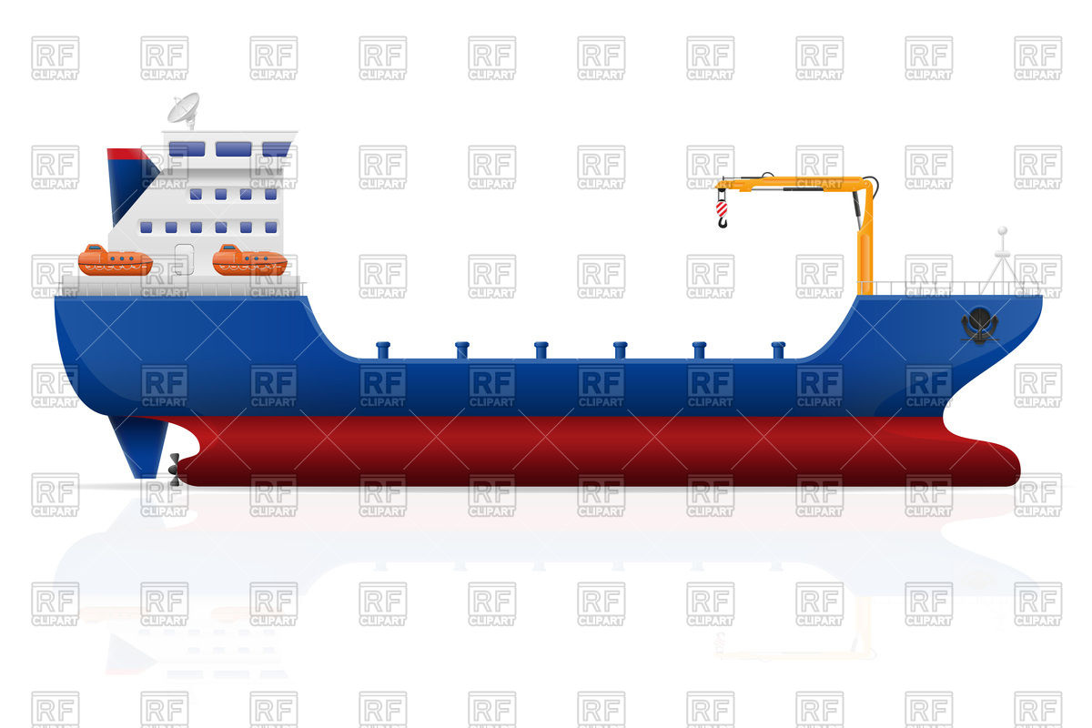 Nautical cargo ship Stock Vector Image.
