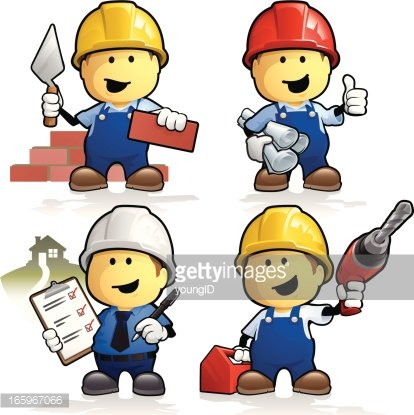 Cartoon construction workers and contractors Clipart Image.