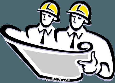 Contractors reading plans Royalty Free Vector Clip Art.