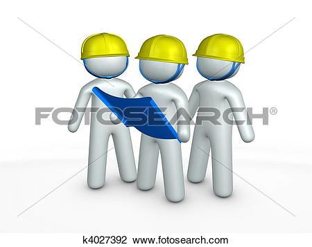 Clip Art of 3d image, contractors, blueprint, construction site.