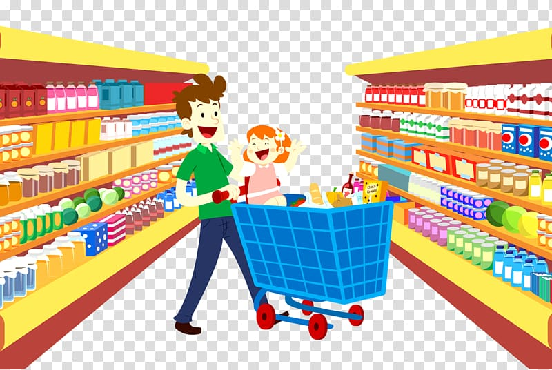 Man pushing cart in convenience store illustration, Grocery.