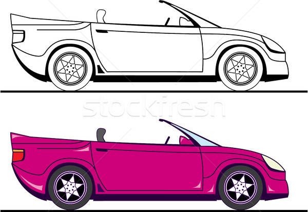 Convertible car vector illustration clip.