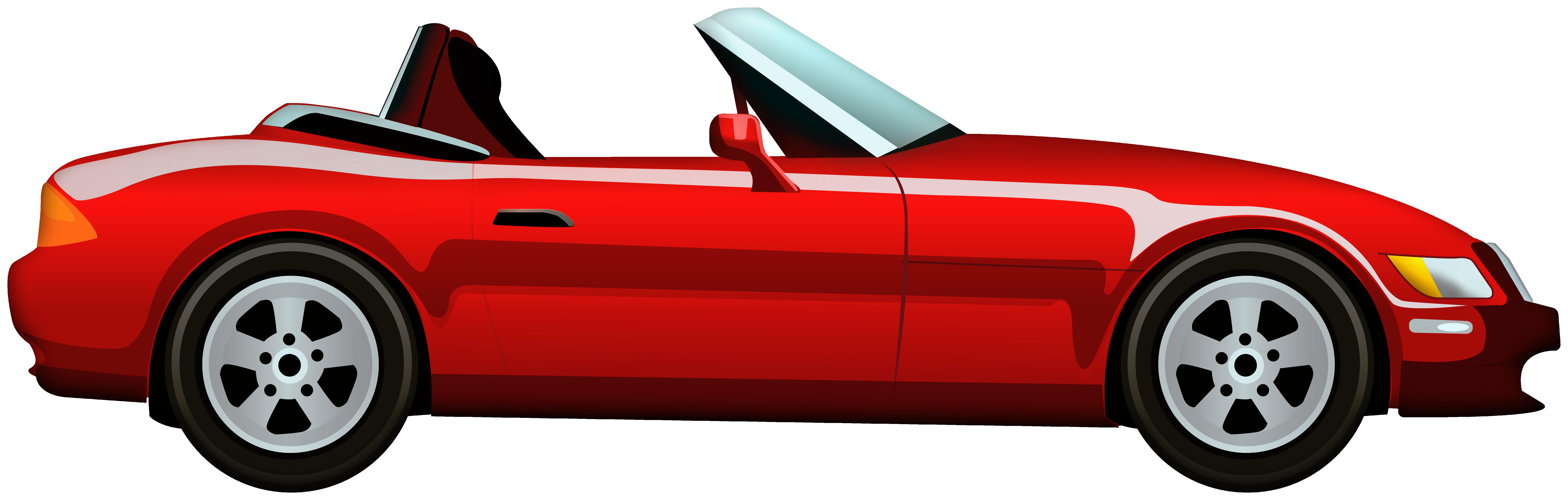 Red Cabriolet Car PNG Clip Art.