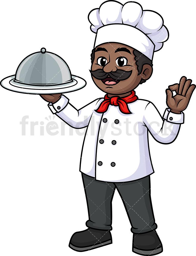 Black Male Chef Holding Plate Cloche Dome Tray.