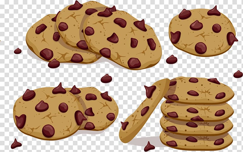 Brown cookies illustration, Chocolate chip cookie, Chocolate.