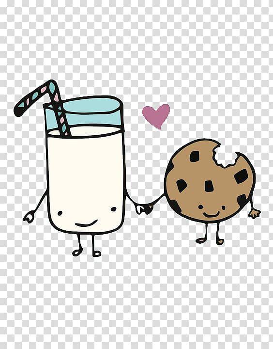 Milk and cookie illustration, Peanut milk Chocolate chip.