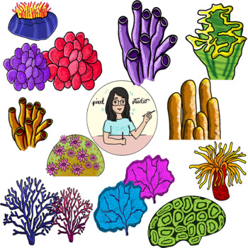 Beautiful Corals Clipart, Coral Reef.
