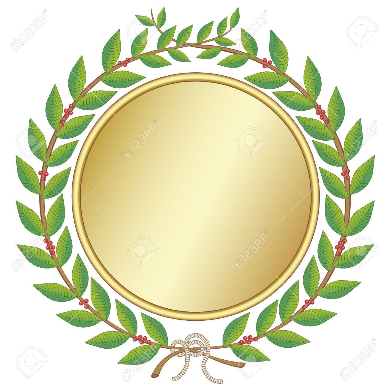 Corona Di Alloro Con Medaglia Clipart Royalty.
