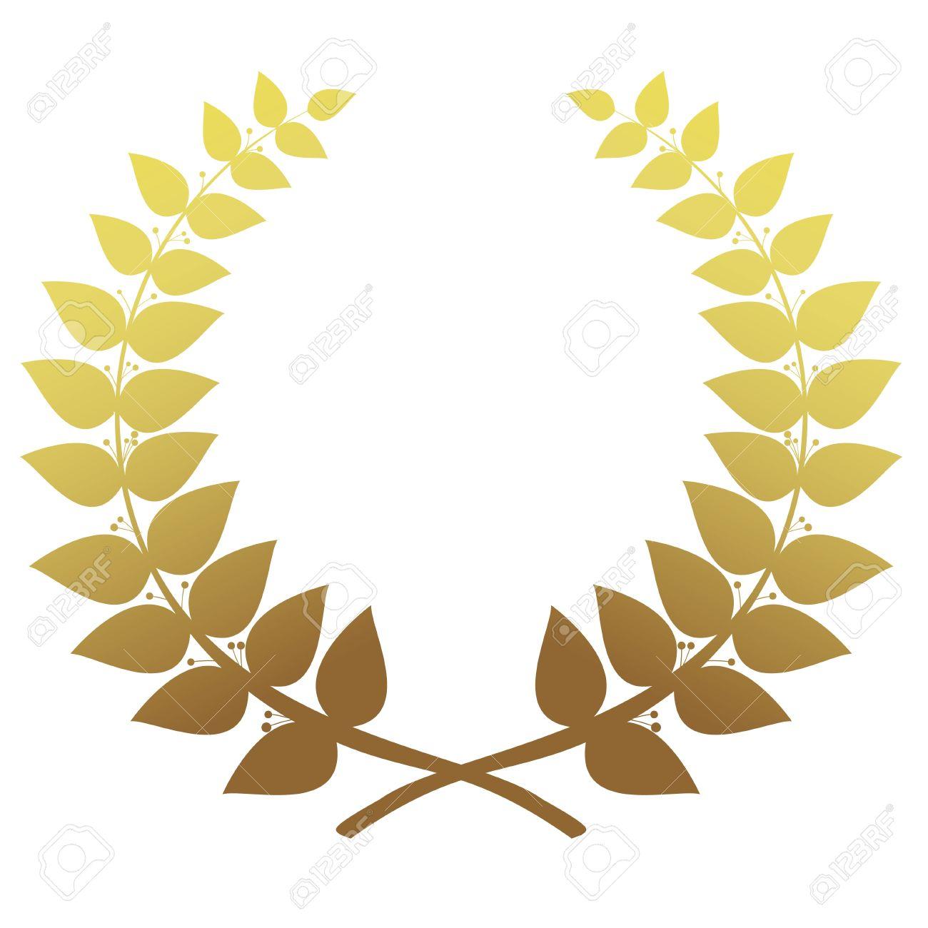 Oro Corona Di Alloro Isolato, Vettore Clipart Royalty.