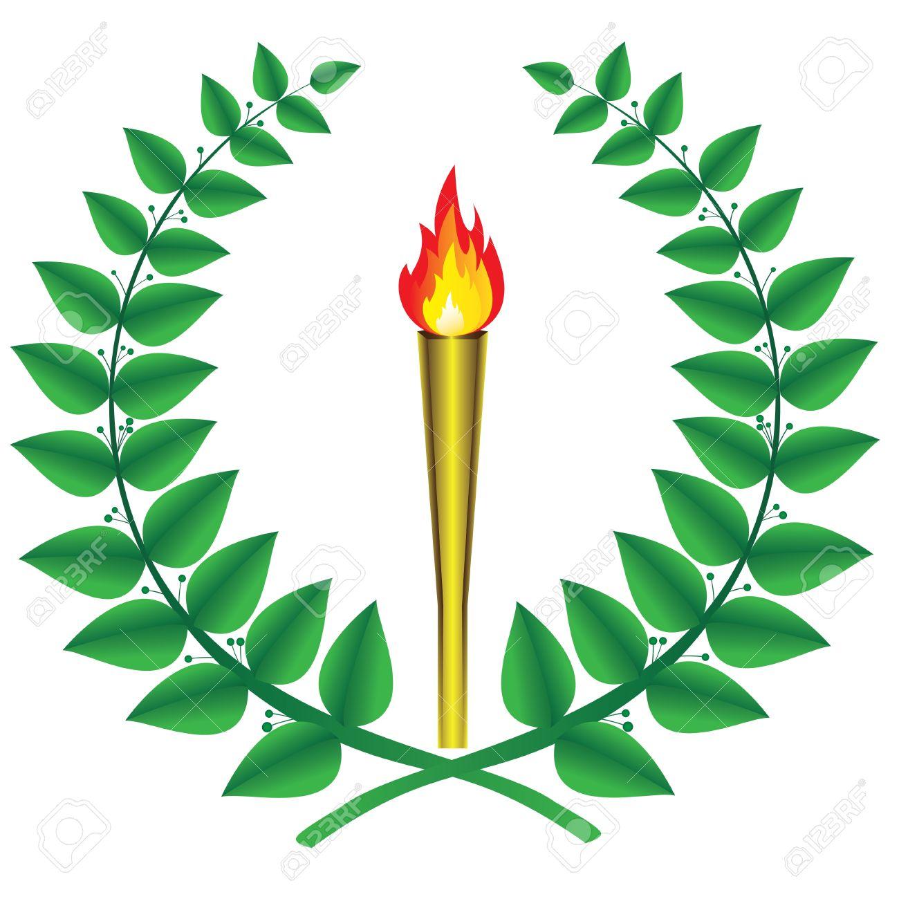 Corona Di Alloro E La Torcia Olimpica Clipart Royalty.