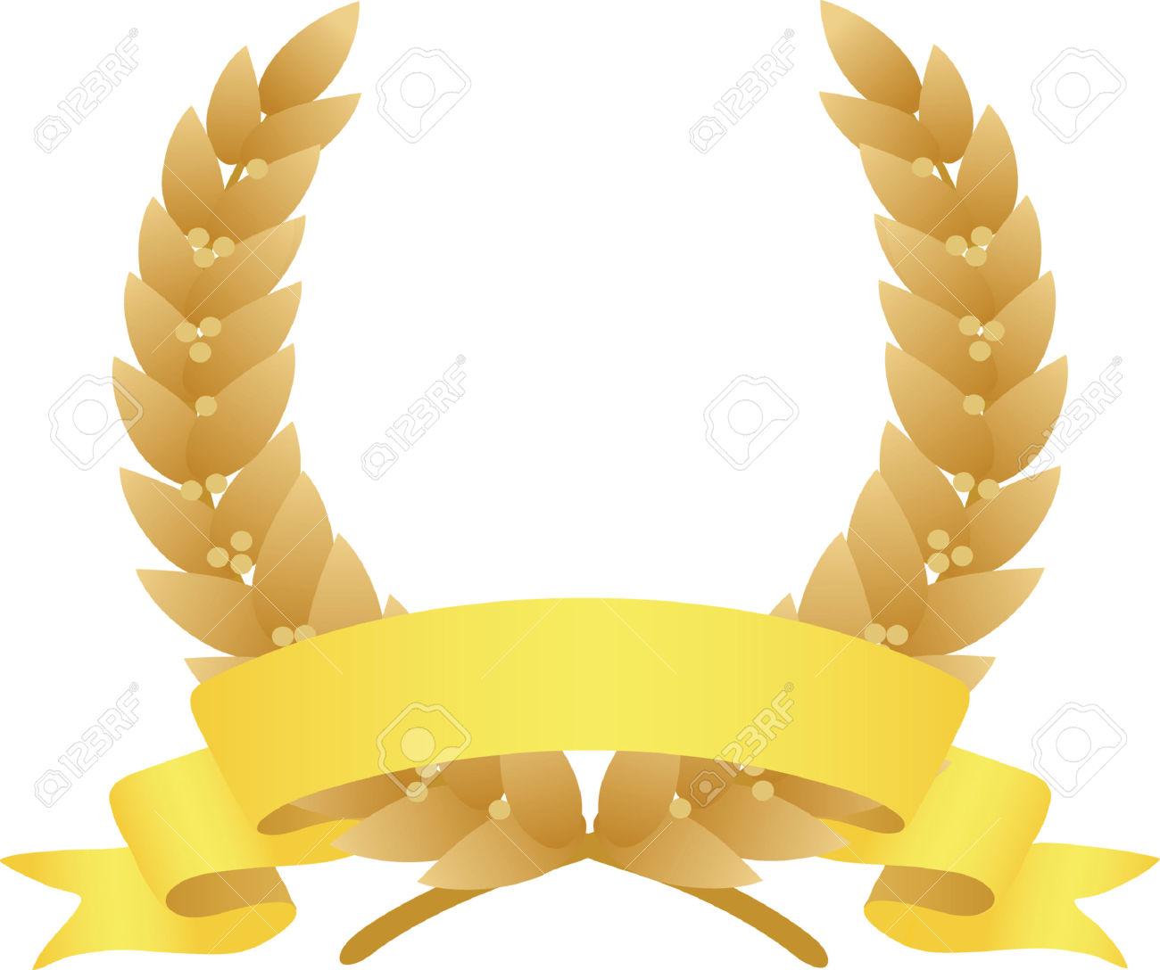 Corona Di Alloro E Nastro. Vector Illustration Clipart Royalty.